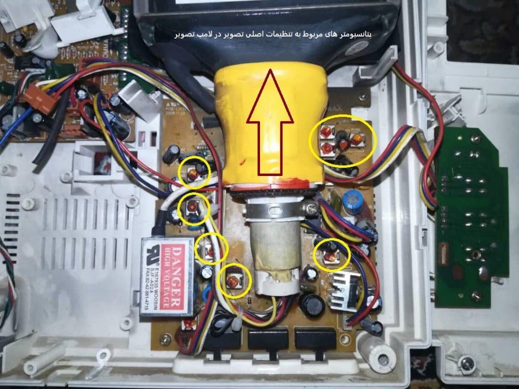 پتانسیومترهای مربوط به تعمیر لامپ تصویر مانیتور آیفون کوماکس